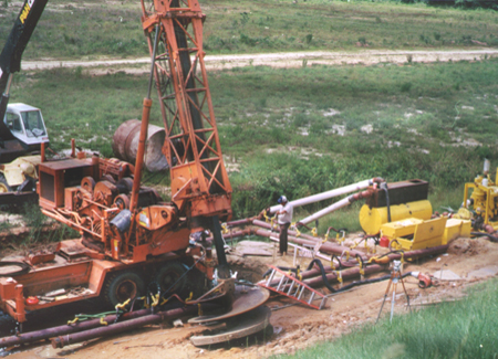 construction drills at Pinopolis Dam