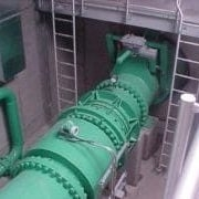 green pipes in construction