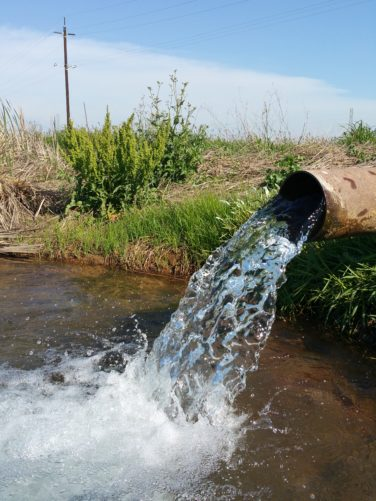 water coming out of pipe into river