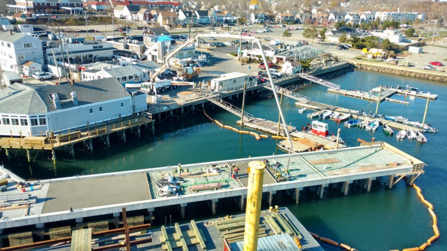 overhead view of T Wharf commercial pier