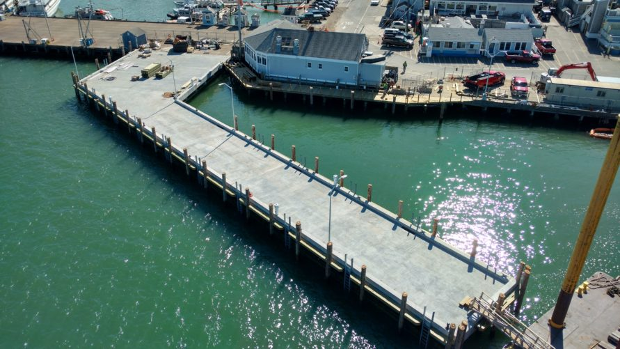 overhead view of T Wharf commercial pier construction
