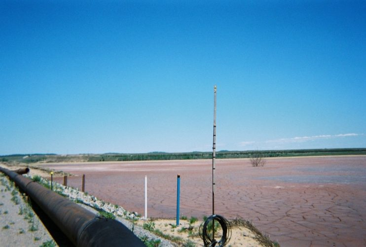 instruments at edge of dry basin
