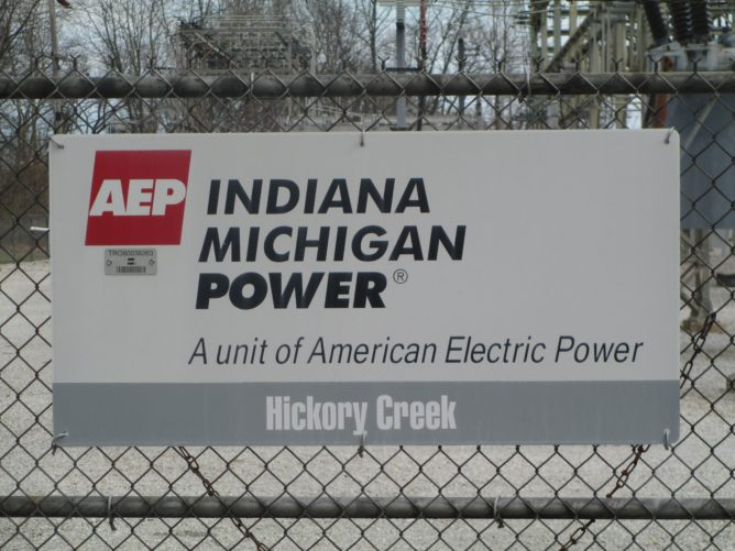 Indiana Michigan Power sign on fence