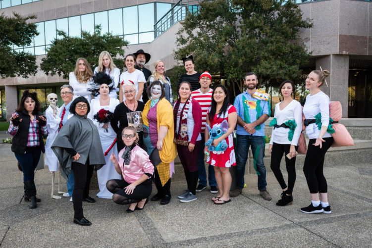 GEI team outside in costumes