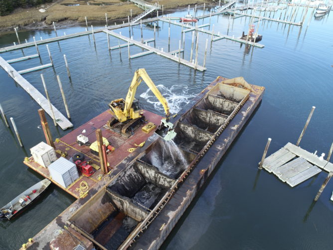overhead view of dredging work in Sesuit Harbour