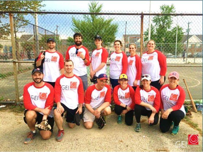 GEI baseball team with matching shirts