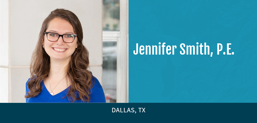 Jennifer Smith with blue background