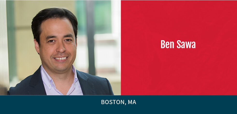 photo of Ben Sawa with red background, Boston, MA