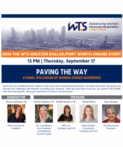 WTS Greater Dallas/Fort Worth flier about women-owned businesses panel
