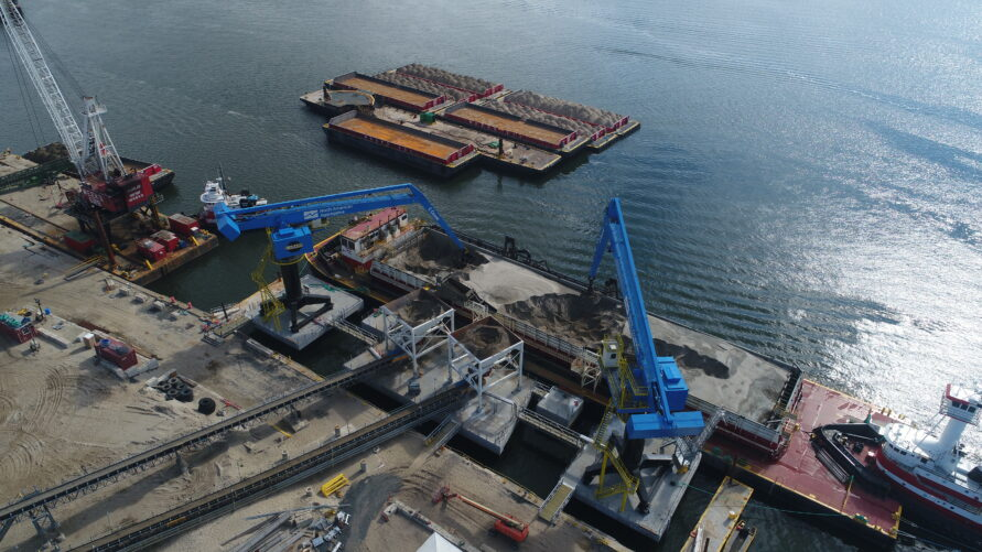 offshore material handling site on the waterfront
